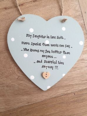 Shabby Personalised Chic Daughter In Law Hanging Heart Gift Any Names Dates